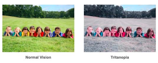 Color-blindness comparison tritanopia