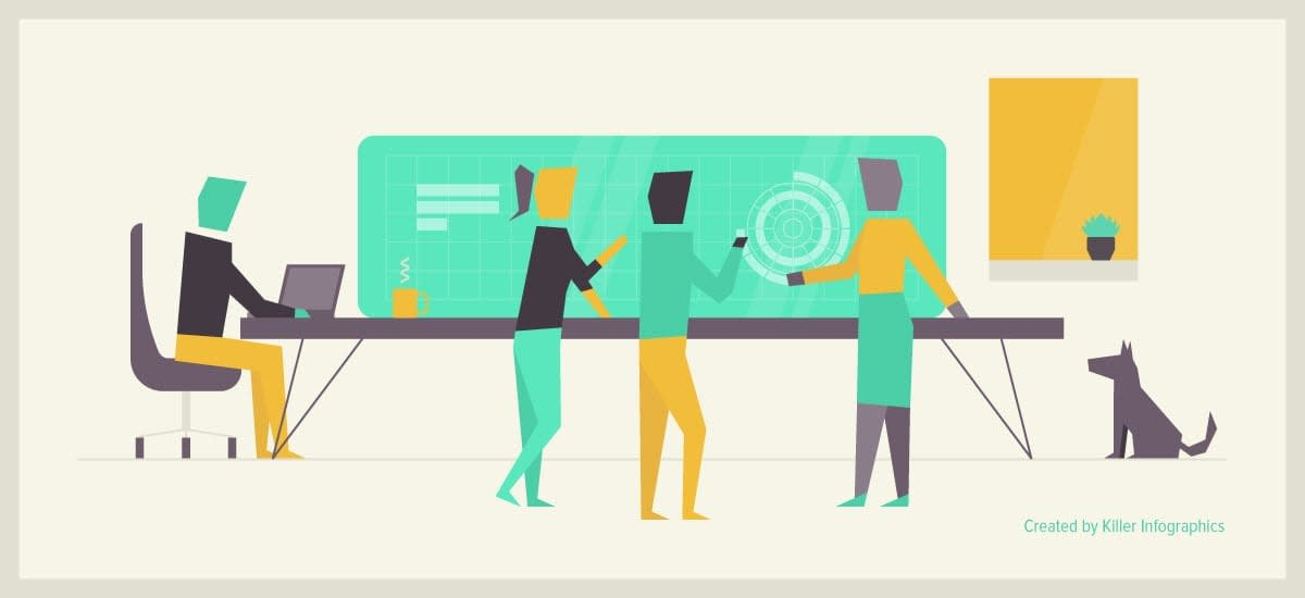 illustration of infographic design agency viewing a display showing a graph