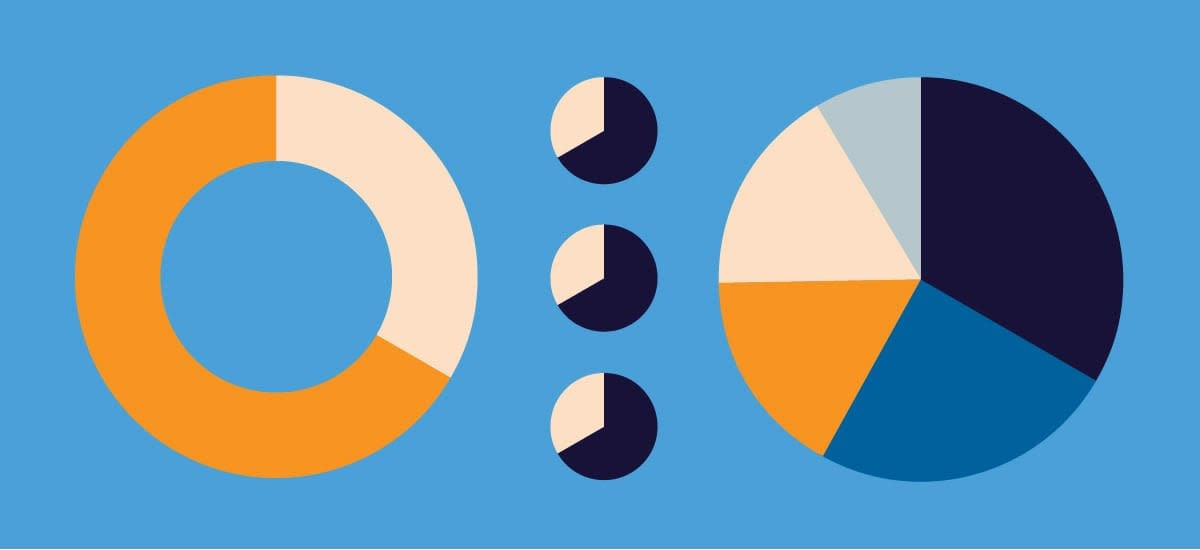 Data visualization in graphic design, including pie charts, donut charts, circle charts