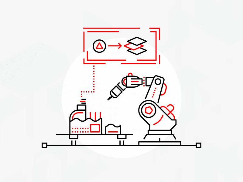 Line art illustration of a robotic machine in a lab