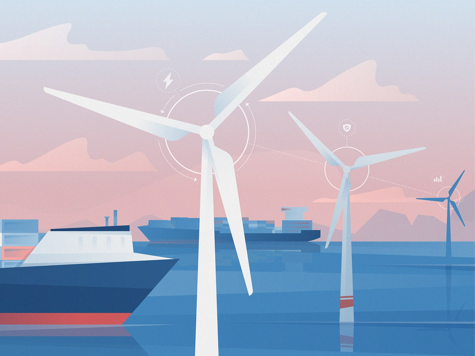 Wind turbines and ships at an offshore wind farm