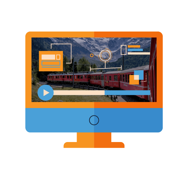 Motion graphic with live-action video and animated overlay