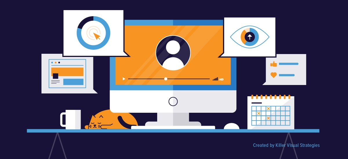 illustrated desktop scene showing webinar and visual campaign elements