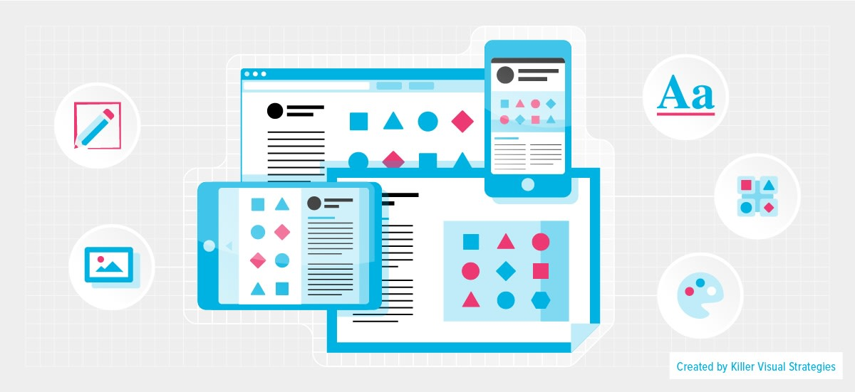 blog header for visual language showing screens with similar icons
