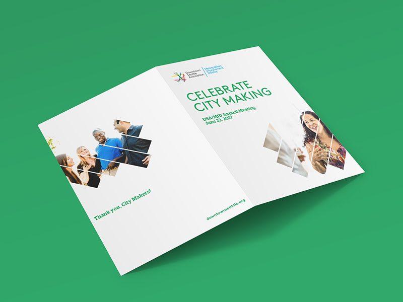 Seattle downtown association brochure design for nonprofit