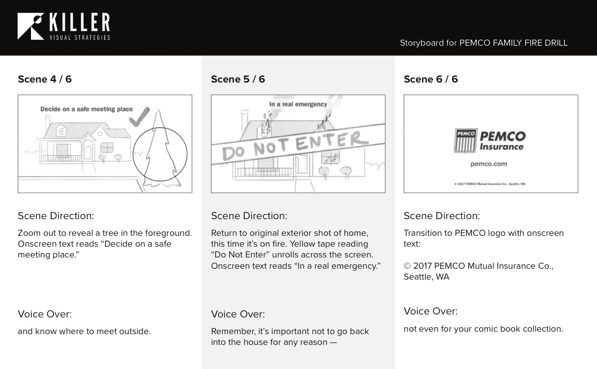 storyboard wireframe of a pemco motion graphic