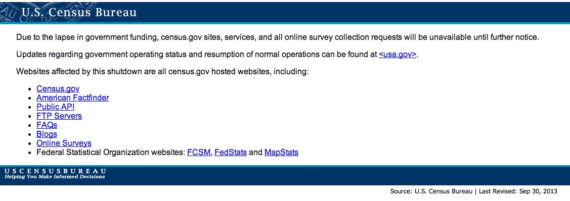 us census bureau 2013 governement shutdown screenshot