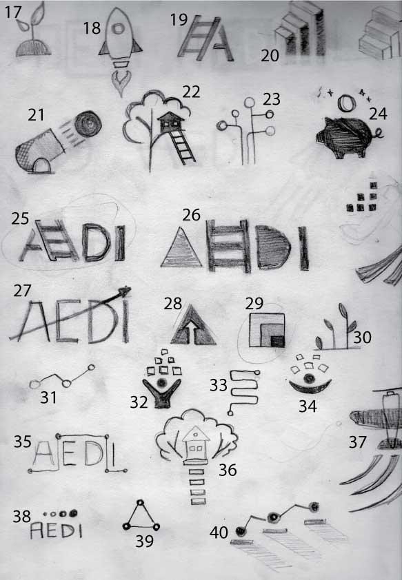 AEDI branding logo concepts