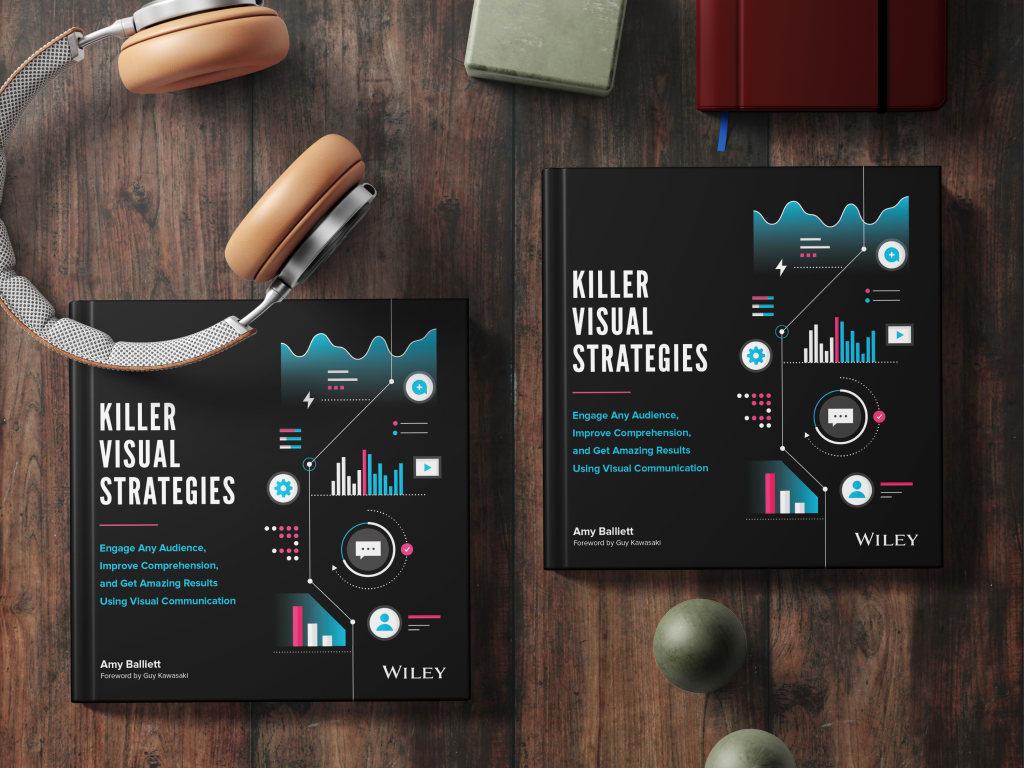 Amy Balliett visual communication book cover design on desk