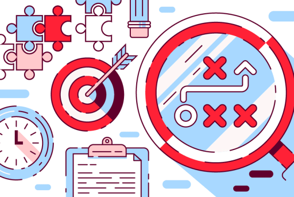 Visual Strategy illustration with marketing icons