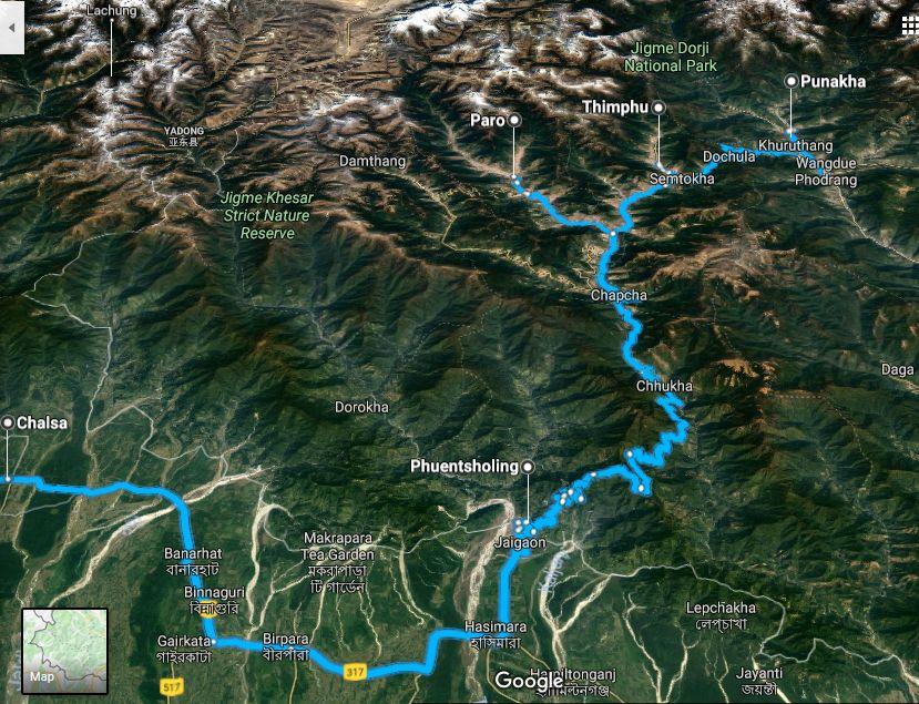 Eastern Jeep Club Bhutan Trip Route Map