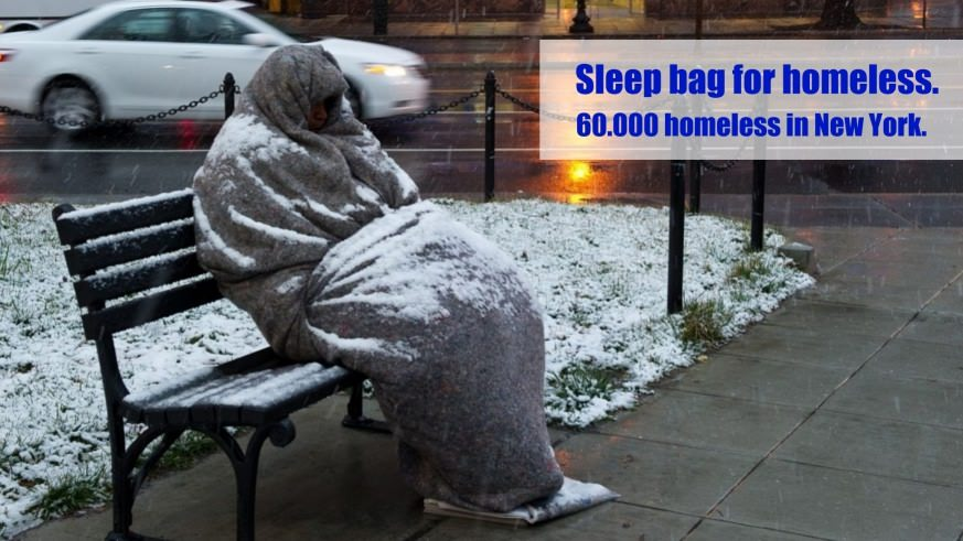 Sleep bag for homeless in New York