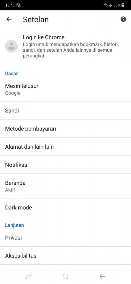 Dark mode Chrome Android
