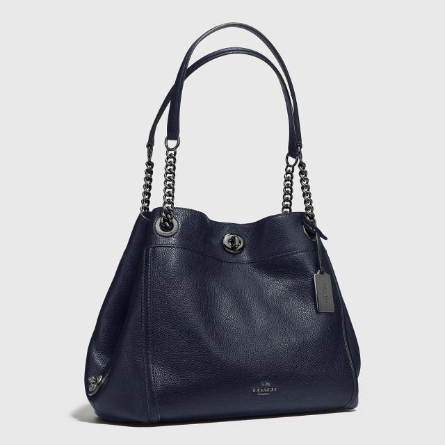 78bfc904f5e COACH Turnlock Edie Shoulder Bag In Pebble Leather