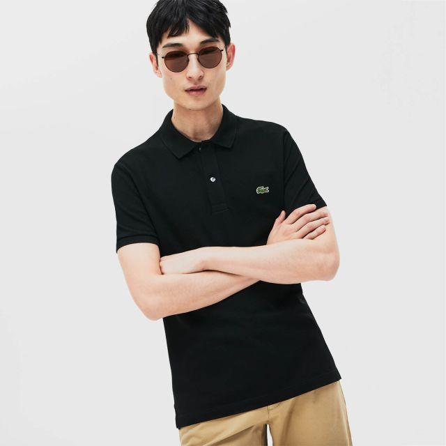 e14d07d101 LACOSTE Men's Paris Polo Shirt Regular Fit Stretch Cotton Piqué (Black)
