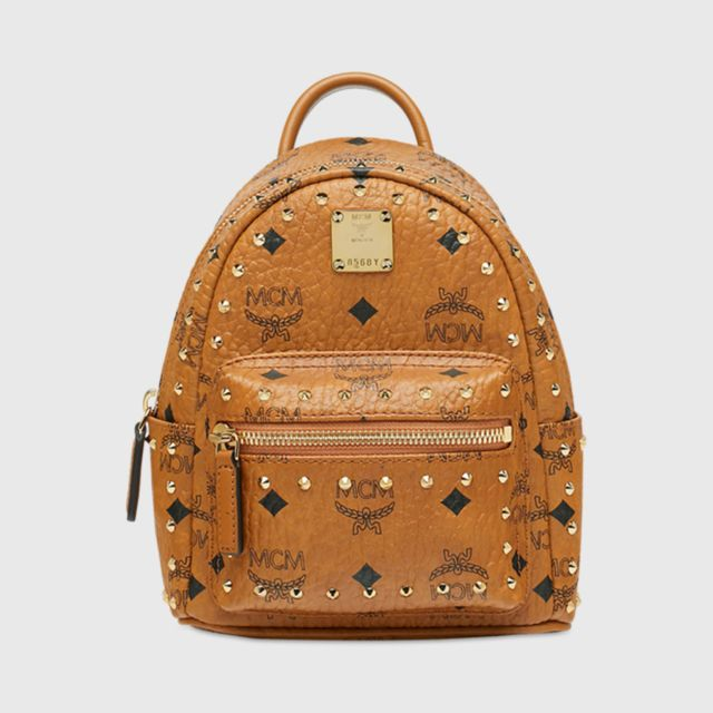 38a1f6529328d9 MCM Stark Bebe Boo Backpack in Studded Outline Visetos X Mini
