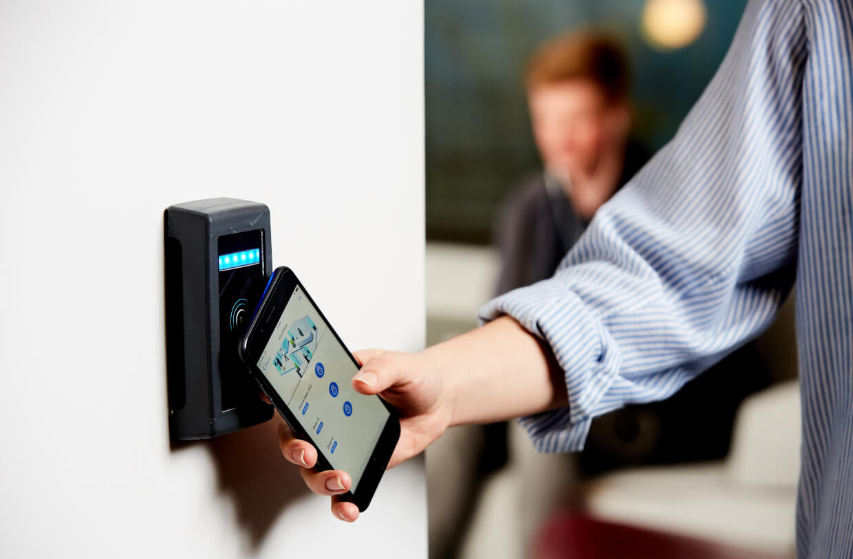 phone tapping access control reader