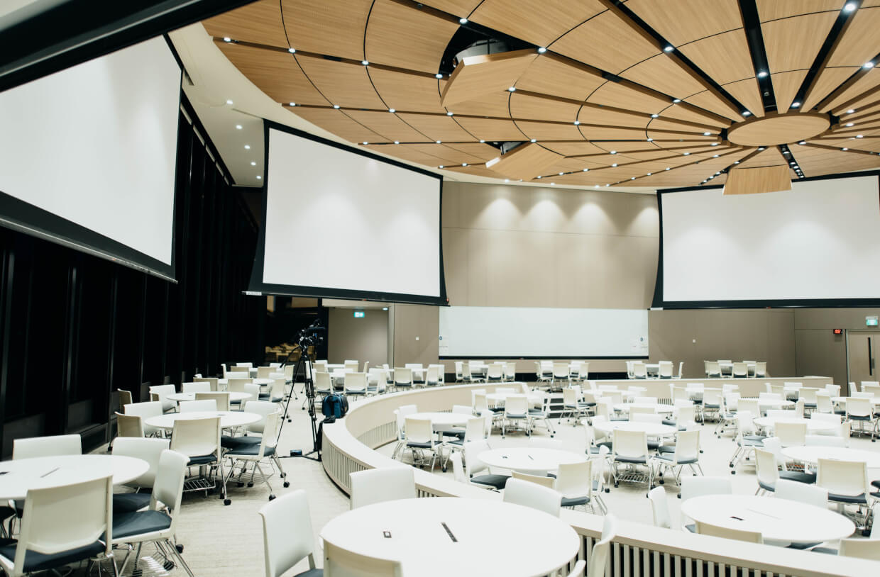 empty conference room with projector screens
