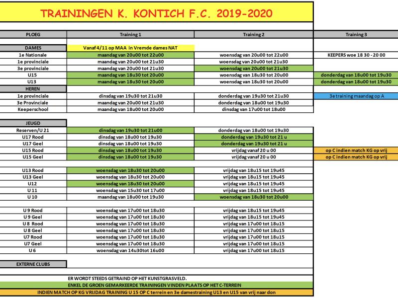 Trainingen seizoen 2019-2020