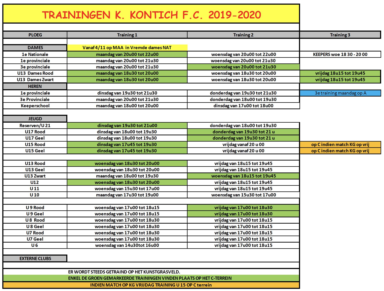 Trainingen 2019-2020