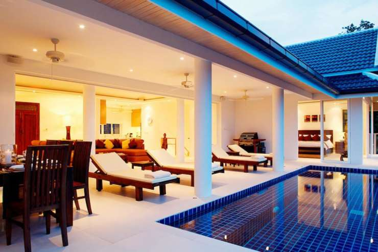 Andaman View (V02) - The living room leads directly onto the swimming pool sundeck