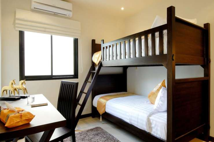 Sunstone Villa (V15) - Bedroom 6 with single bunk beds, air conditioning and ceiling fan