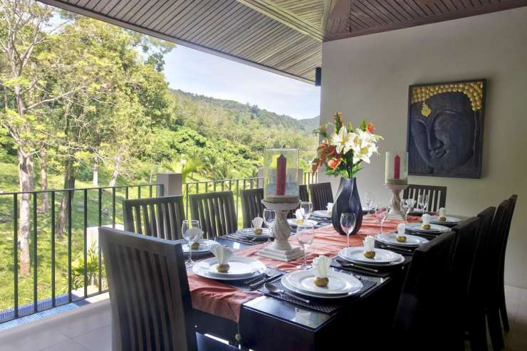 Sunstone Villa (V15) - Dining table for 12 guests to enjoy delicious in-house prepared Thai meals