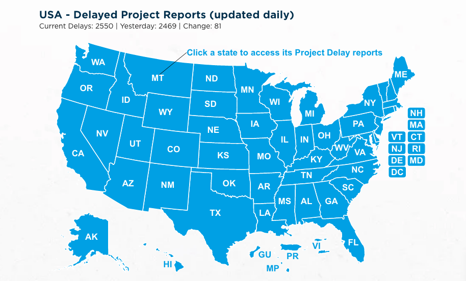 Construct Connect daily tracker for delayed U.S. construction projects