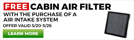 Free Cabin Air Filter with Intake Purchase