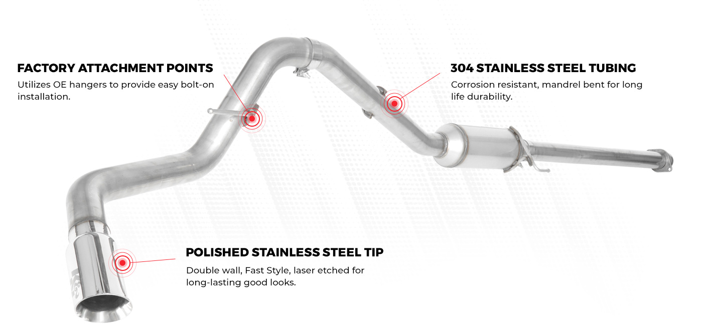 K&N Exhaust Benefits: factory attachment points, 304 stainless steel tubing, polished stainless steel tips