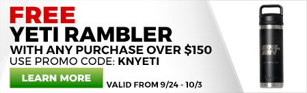 Free K&N YETI Rambler with $150 purchase. Use promo code KNYETI