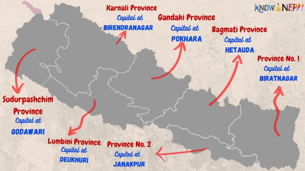 Map of Nepal with provinces and capital-city