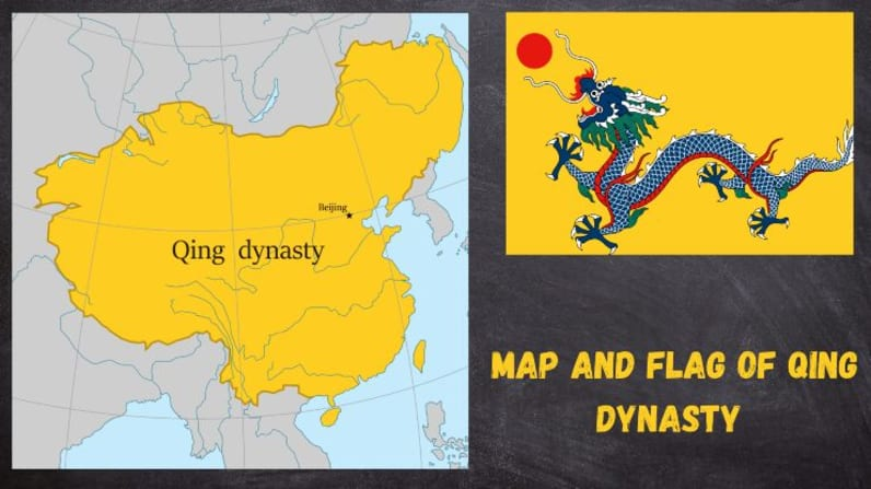 Map and Flag of Qing Dynasty