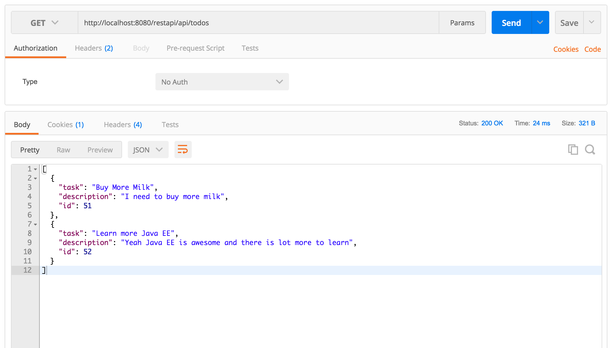 Simple CRUD REST API with Java EE