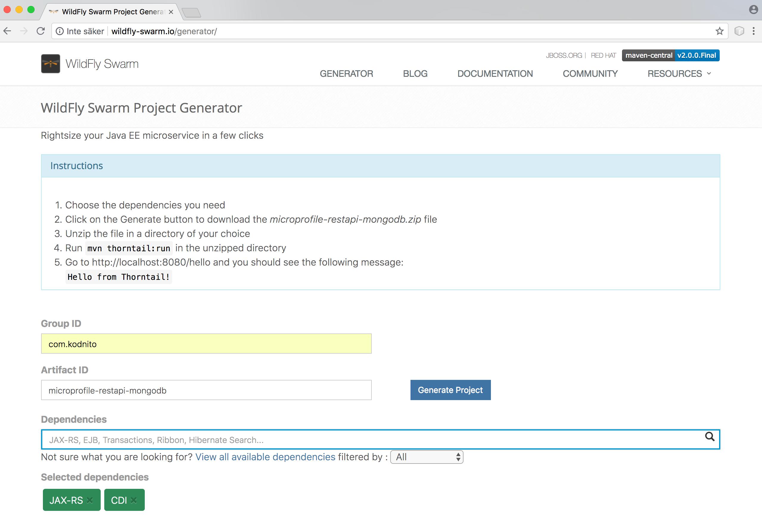 MicroProfile REST API with MongoDB