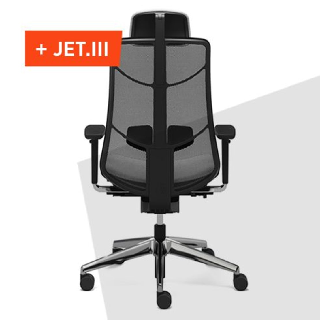 The innovative office swivel chair JET.III optimally supports the movements of the body.