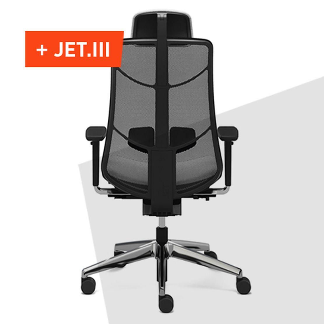 Der innovative Bürodrehstuhl JET.III unterstützt die Bewegungen des Körpers optimal.
