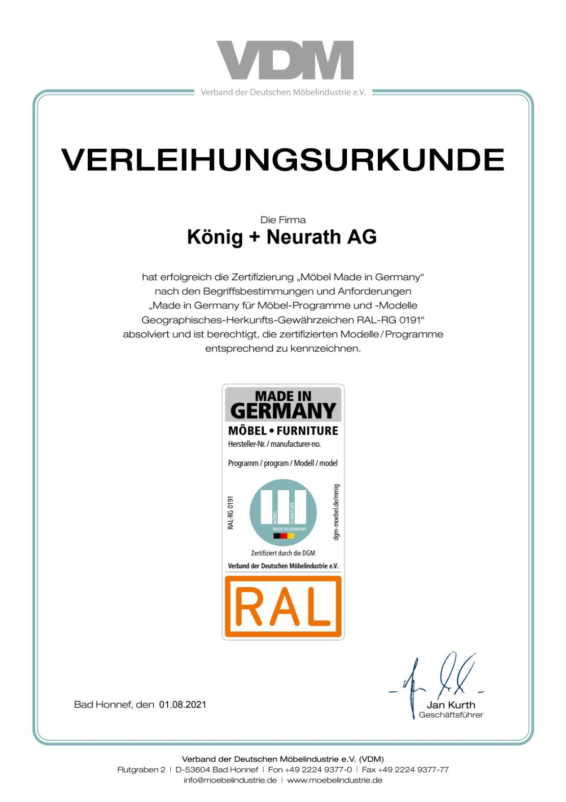 """König + Neurath Urkunde """"Möbel Made in Germany"""""""