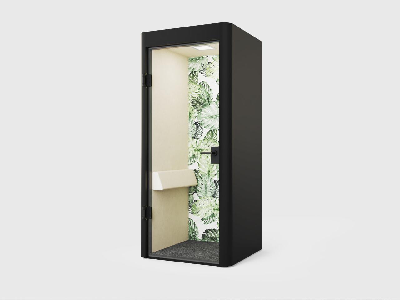 Design-Telefonkabine mit abgerundeten Ecken