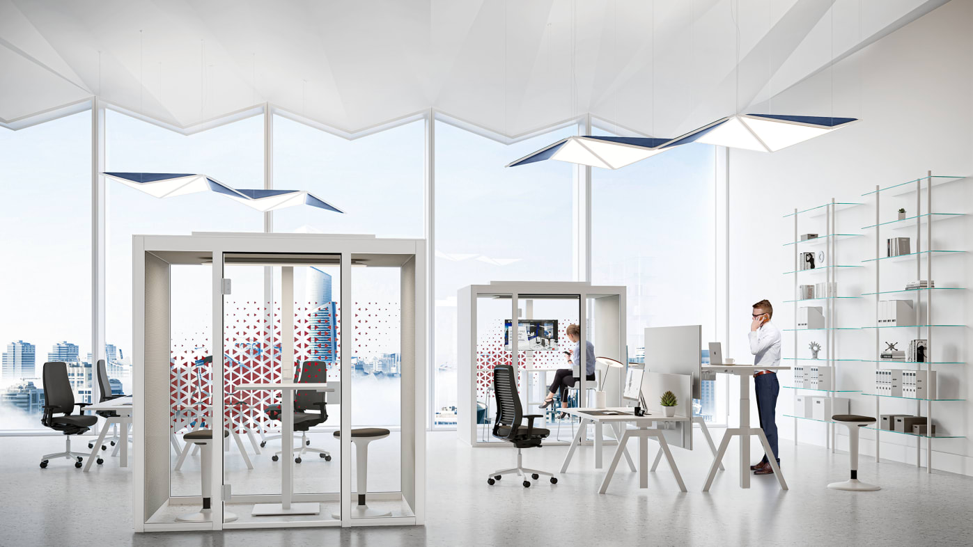 QUIET.BOX Duo XL - der freistehende Meeting-Cube für vier Personen im Büro