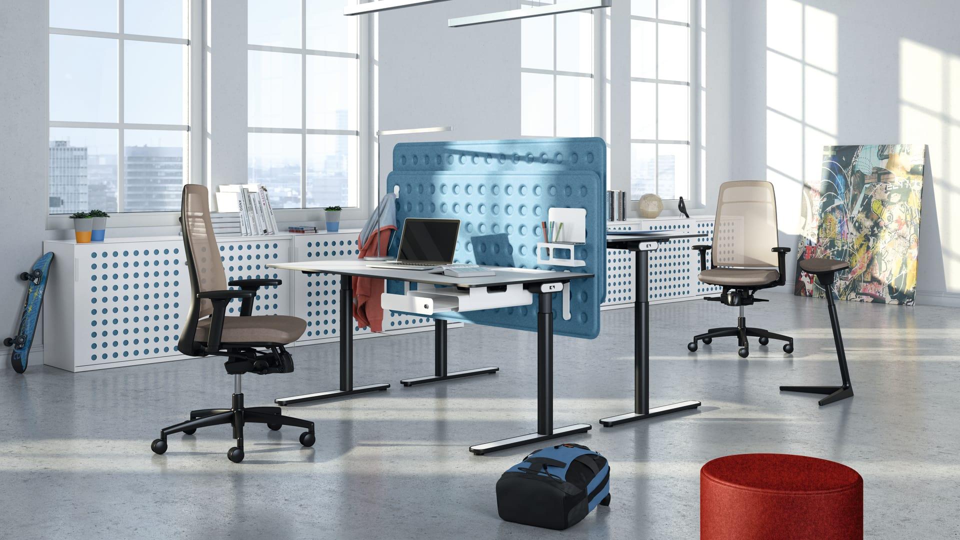 life s tische schreibtische steh sitz arbeitspl tze k nig neurath. Black Bedroom Furniture Sets. Home Design Ideas