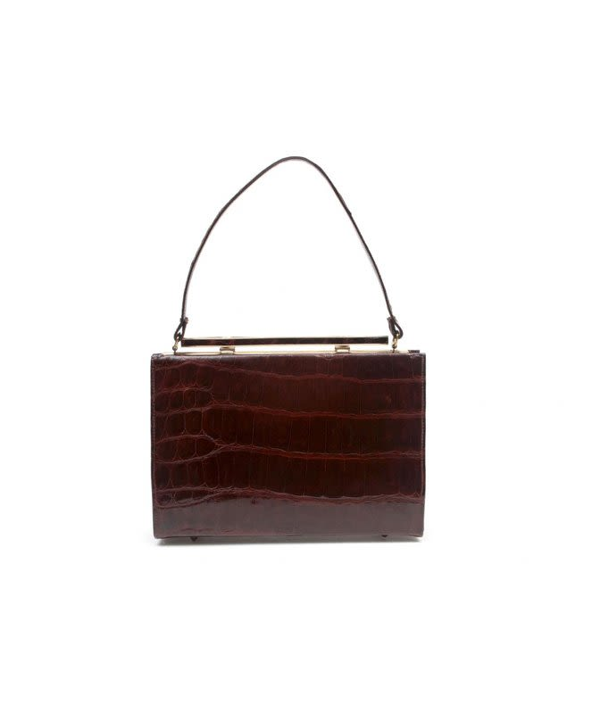 Vassar Vintage Brown Shiny Alligator Top Handle Bag