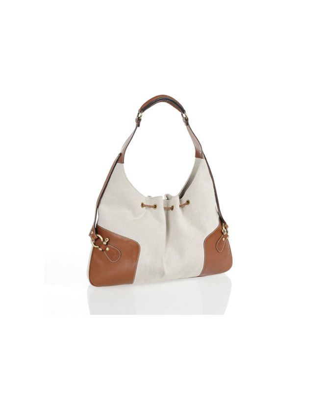 Burberry Natural Canvas and Brown Leather Shoulder Bag