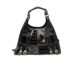 Versace Black Snakeskin Pony Hobo Bag