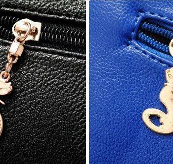 Studded Face Handbag with Side Slit-Pocket Close-Up Back Zip-Pocket