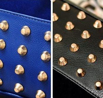 Studded Face Handbag with Side Slit-Pocket Studs Close-Up of Studs
