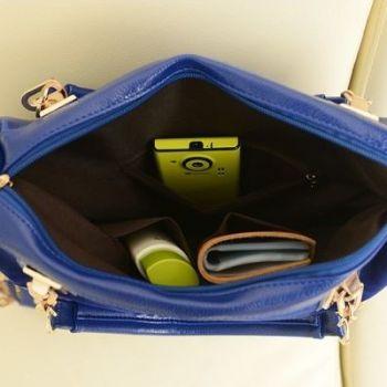 Studded Face Handbag with Side Slit-Pocket Hardware Inside-View