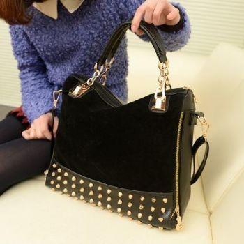 Black Studded Face Handbag with Side Slit-Pocket Demo