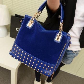 Blue Studded Face Handbag with Side Slit-Pocket Demo