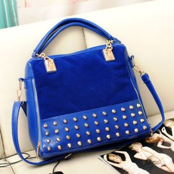 Studded Face Handbag with Side Slit-Pocket In-Situ on Sofa
